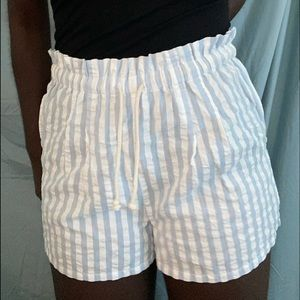 baby blue and white beach shorts